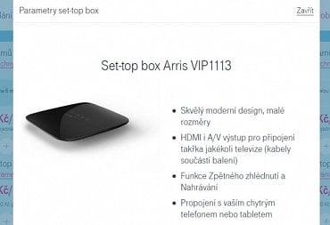 Takto vypadají u T-Mobile TV parametry boxu Arris VIP1113. S mobilem ho pochopitelně nepropojíte...