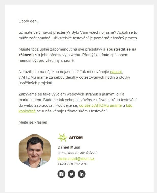 E-mailingová edukační kampaň Pojďme testovat s AITOMem