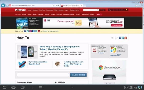 Na tomto obrázku vidíte Internet Explorer 9 zobrazený na tabletu Samsung Galaxy Tab, který slouží jako přídavný monitor