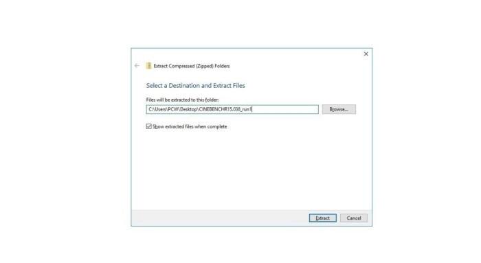 Klepněte pravým tlačítkem myši na archiv ZIP a z místní nabídky vyberte funkci rozbalení archivu, která je integrována do Windows 10. Nezapomeňte při každém testu přejmenovat cílovou složku