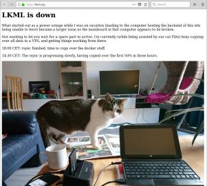 Snímek obrazovky LKML se zprávou ostavu přesunu na VPS
