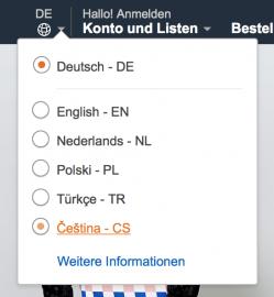 Přepnutí Amazon.de do češtiny