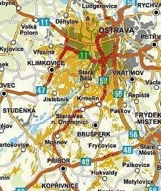Pokrytí DAB+ v Ostravě, síť Českých radiokomunikací
