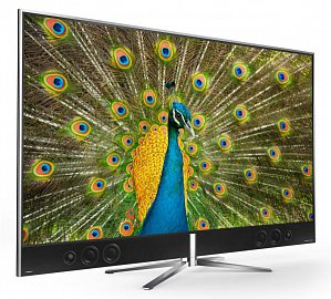Thomson 55UA9806 (36.990 Kč, 140 cm) nabízí nepřehlédnutelný styl. Už jenom reproduktory na čelní straně hned tak někde neuvidíte. Škoda, že televizor není od koho zapůjčit!