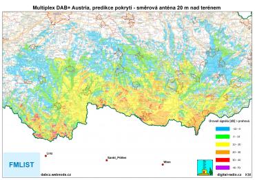 Predikce pokrytí DAB+ Austria