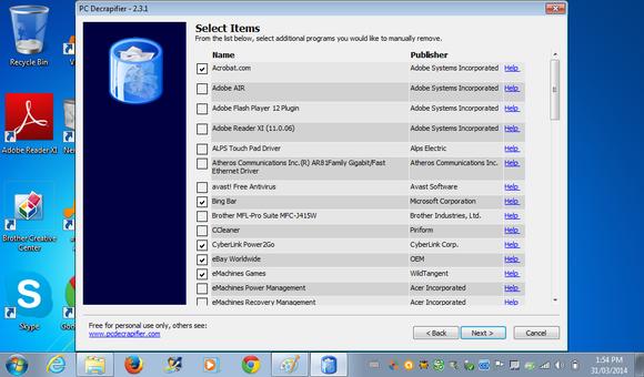 Utilita PC Decrapifier při práci
