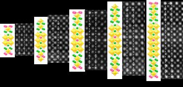 Schématické obrázky krystalových struktur a jejich zobrazení ve skenovacím transmisním elektronovém mikroskopu