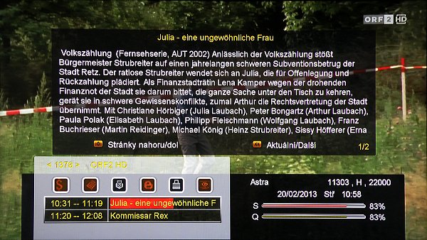Info lišta se zobrazí při každém přepnutí kanálu, doplňující podrobnosti o programu zobrazíte tlačítkem INFO