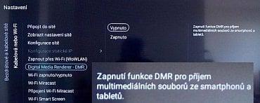 Na Philips 40PFH6510 s operačním systémem Android TV najdete v menu nastavení v části síť volbu pro převzorkování video signálu (Digital Media Render – DMR) jdoucího z bezdrátově připojeného mobilu či tabletu. Bohužel v tomto konkrétním případě na obrazovou kvalitu vliv neměla, resp. jsem to nepozoroval (recenze 2. září 2015).