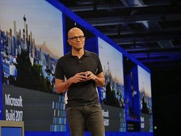 Šéf Microsoftu Satya Nadella na konferenci Build 2017 v Seattlu.