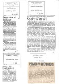 Spořit a stavět. Dobový tisk z roku 1992.