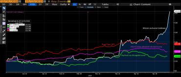 Zhodnocení bitcoinu a jiných vybraných komodit.