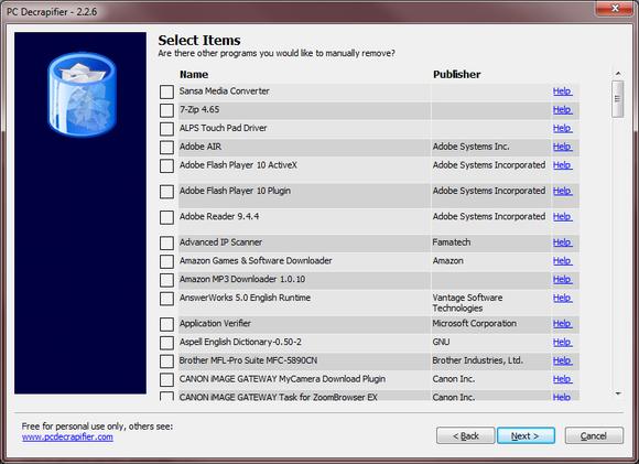Program PC Decrapifier je velmi jednoduchý, snadno ovladatelný a orientovaný pouze na odstraňování bloatwaru