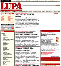 Jak vypadala Lupa.cz před změnou koncem roku 2005