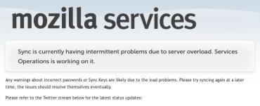 Firefox Sync je přetížen