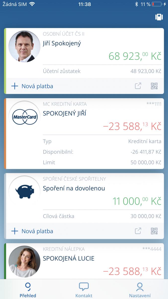 Mobilní bankovnictví George: Úvodní obrazovka
