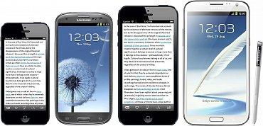 Zleva: iPhone5, GalaxySIII, předpokládaný iPhonePlus, GalaxyNoteII