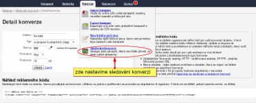 Obr. 3 - Vygenerování konverzních kódů pro náš web