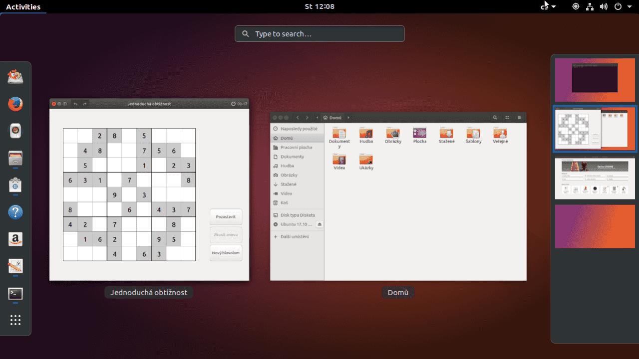 Ubuntu 17.10 Artful Aardvark (vývojová verze s Gnome)