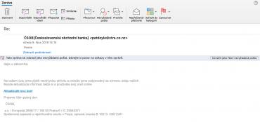 Podvodný phishingový e-mail lákající údaje klientů ČSOB. (09.12.2019)