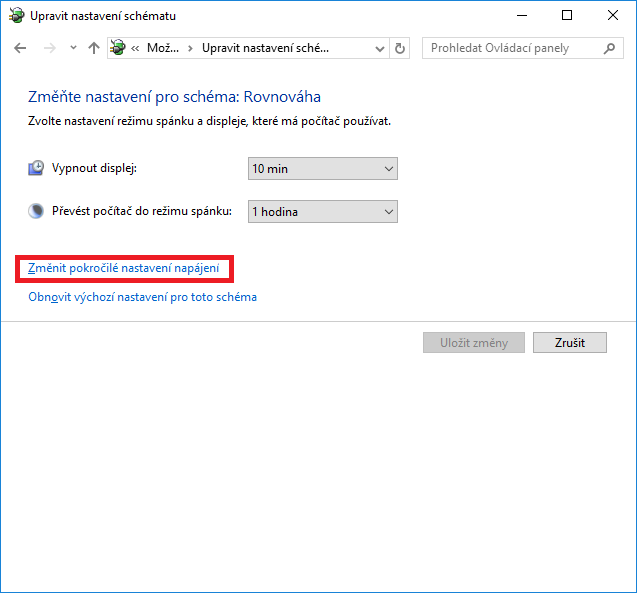 Pokročilé nastavení napájení ve Windows 10