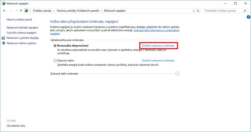 Schéma napájení ve Windows 10