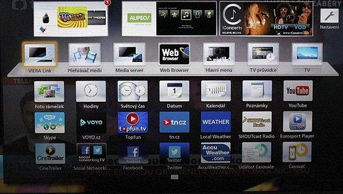 """Obrazovka do které se dostanete po stlačení Apps nabídne kompletní """"chytré"""" volby (widgety, otevřený web) plus vstup na multimédia a média server přes DLNA a také menu nastavení (""""Hlavní menu"""") či EPG (""""TV průvodce"""")."""