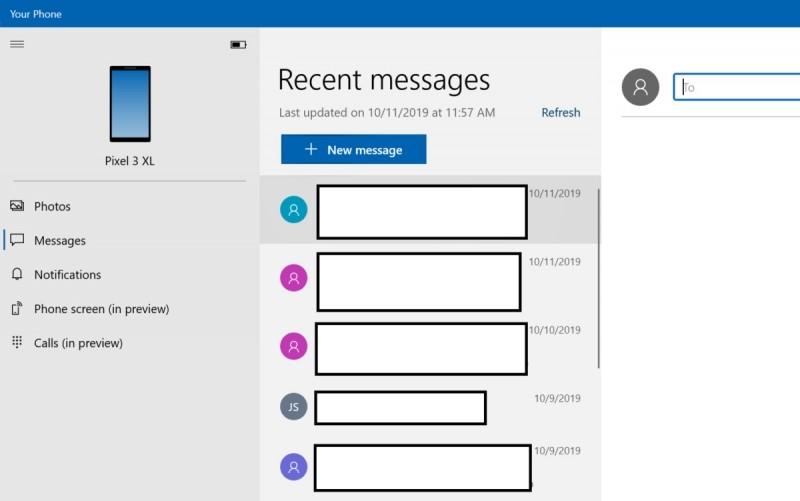 Na záložce Zprávy se zobrazují zprávy SMS i MMS, nicméně bez jakýchkoliv dalších možností komunikace nabízených jinými nativními aplikacemi pro smartphony.