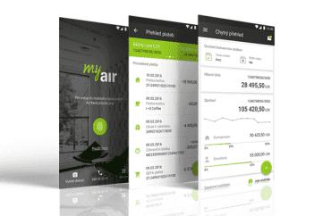 Vzhled mobilní aplikace My Air na chytrém telefonu s operačním systémem Android.
