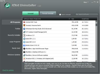 Pomocí IObit odinstaluje aplikace