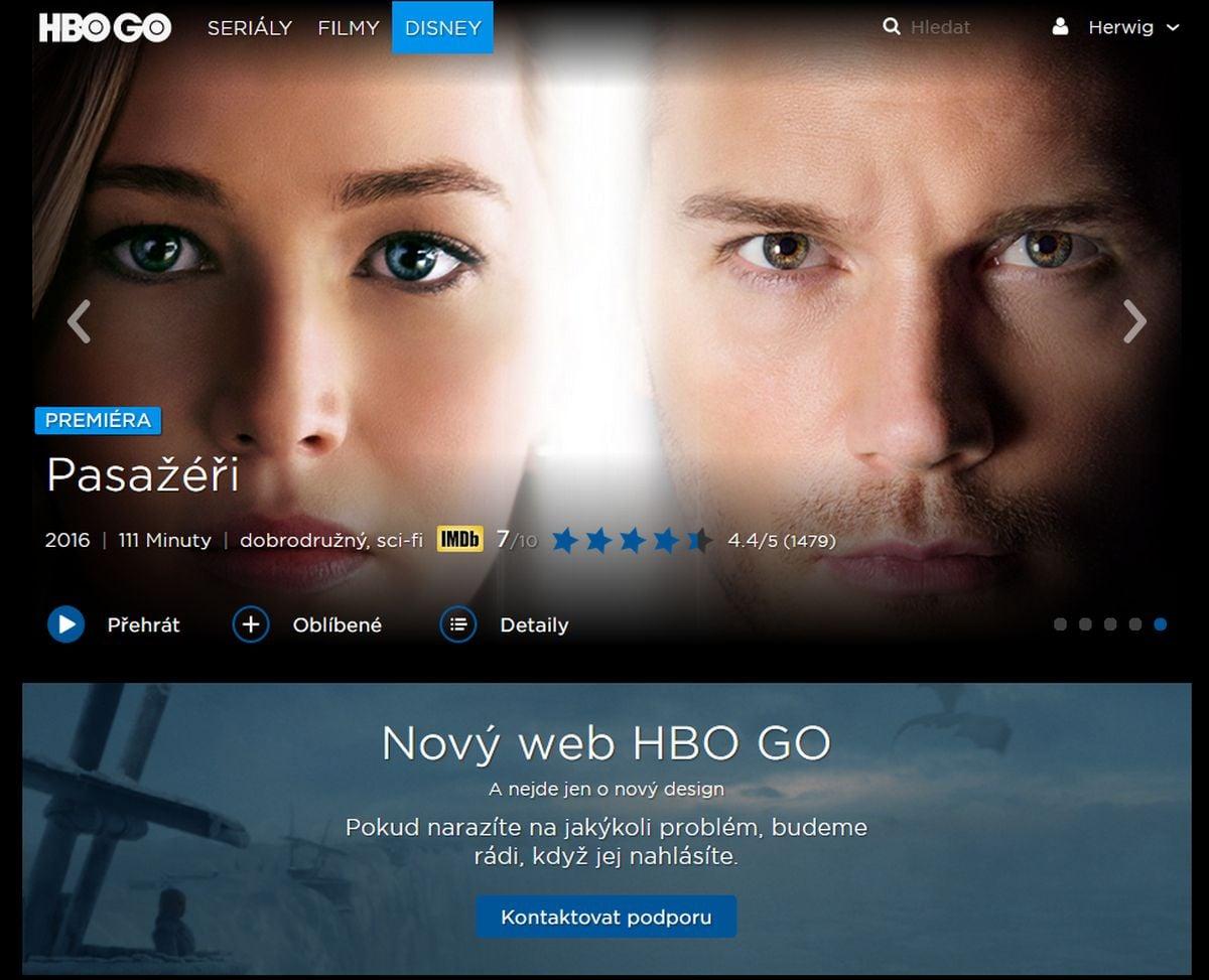 HBO GO nově, říjen 2017 (Windows PC, Firefox)