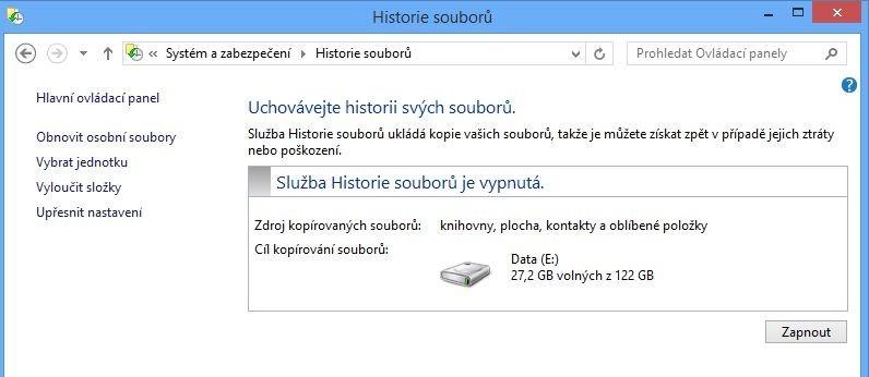 Pokud chcete využívat funkci Historie souborů, musíte mít v počítači kromě disku s operačním systémem další pevný disk