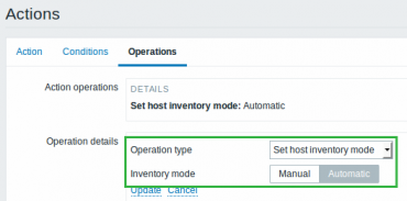 Zabbix 3.0 operation inventory mode
