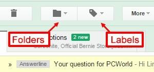 Složky a štítky v Gmailu