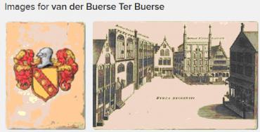 Erb rodiny van der Buerse a jejich dům na bruggském  náměstí