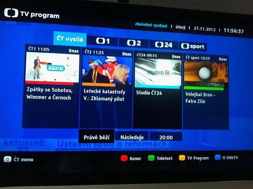 Náhled elektronického programového průvodce, který Česká televize chystá v rámci hybridního vysílání HbbTV.