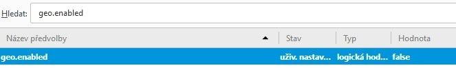 Nastavení zjišťování polohy v Mozilla Firefox