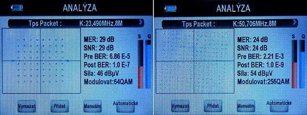 Analýze signálů v pásmu do 858MHz. Vlevo K23 v DVB-T, vpravo K50 kde probíhá pražské zkušební vysílání v DVB-T2. Výborné je současné zobrazení barragrafů a BER (měření BER je u tohoto modelu daleko přesnější, než u jeho předchůdce). Přístroj reaguje velice rychle na změny příjmu.