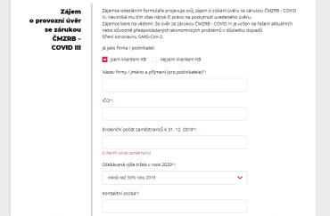 Ukázka formuláře žádosti o úvěr COVID III