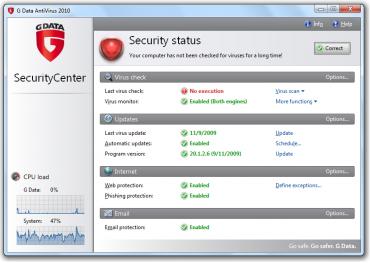 <p>G Data Antivirus 2010 - ohlídá vaše data před viry</p>