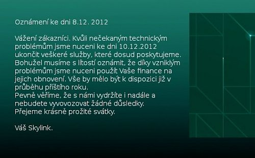 Textová informace, která se v sobotu objevila v horní části webu satelitní služby Skylink.