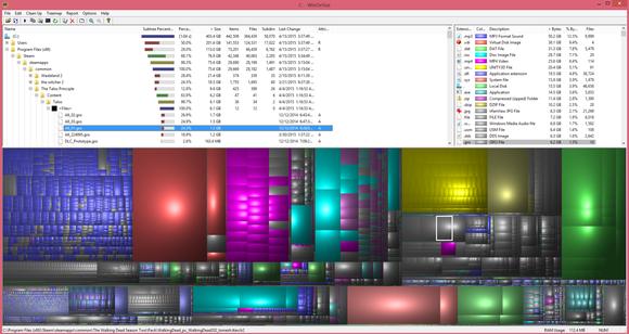 Ty velké bloky se stejnou barvou představovaly složky, které na našem disku SSD zabíraly nejvíce místa