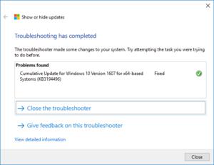 Nástroj pro řešení potíží s aktualizacemi ve Windows 10, dokončení operace