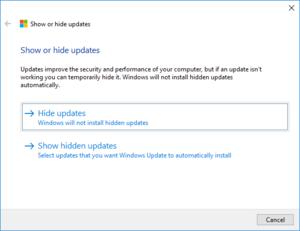 Nástroj pro řešení potíží s aktualizacemi ve Windows 10, skrytí aktualizací