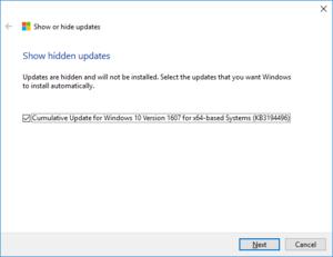 Nástroj pro řešení potíží s aktualizacemi ve Windows 10, zobrazení skrytých aktualizací