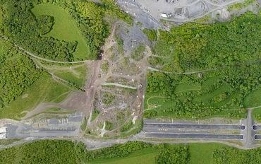 Zmapování rozsahu sesuvu na dálnici D8 ve vysokém rozlišení z dronu