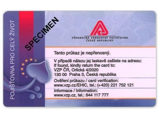 Evropský průkaz zdravotního pojištění VZP