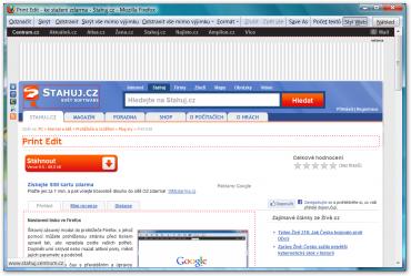 Zobrazení stránky pomocí tlačítka Styl Web.