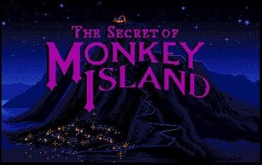 The Secret of Monkey Island - titulní obrazovka - Amiga. Opět je znát větší počet použitých barev. U ST je hodně nápadný dithering.