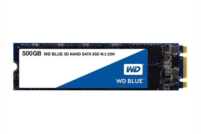 V našem případě jsme použili verzi WD Blue 3D o kapacitě 1 TB, a nikoliv verzi o kapacitě 500 GB, která je na obrázku. V každém případě obě dvě verze používají rozhraní SATA.